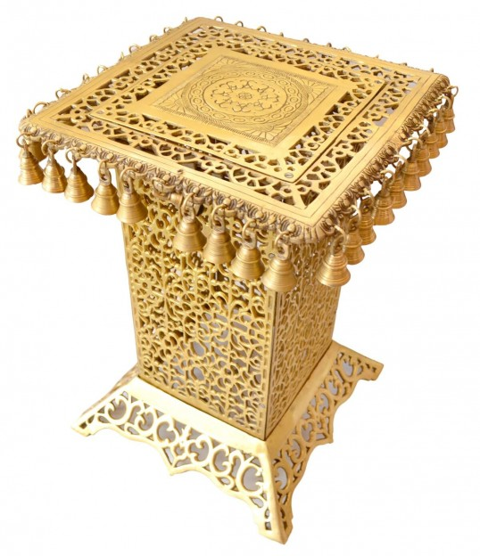 Ethnic Design Brass Decorative Corner Table with Hanging Bells
