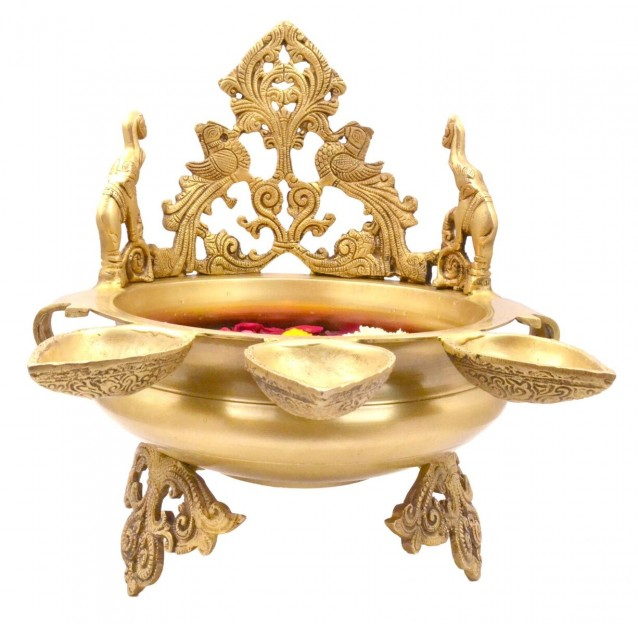 Ethnic Indian Elephant Design Brass Urli