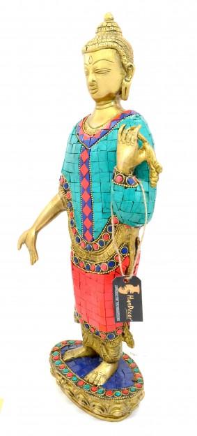 Buddha Standing Gemstone Brass Showpiece