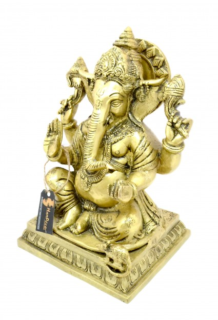 Chaturbhuja Ganesha 10 Inches Brass Statue