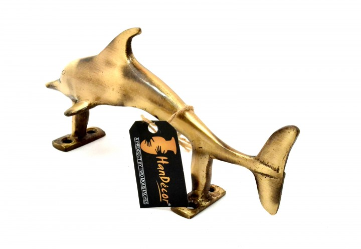 Dolphin Design Brass Door Handle