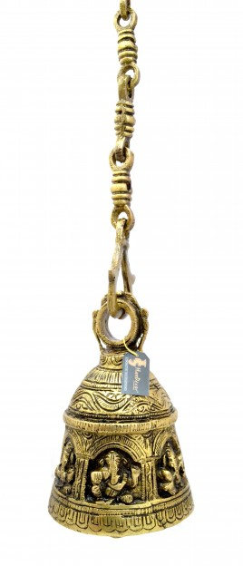 Ganesha Design Brass Hanging Bell Antique Yellow