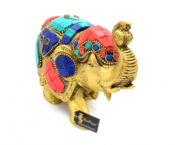 Maharaja Elephant Gemstone Brass Showpiece - 4 Inches