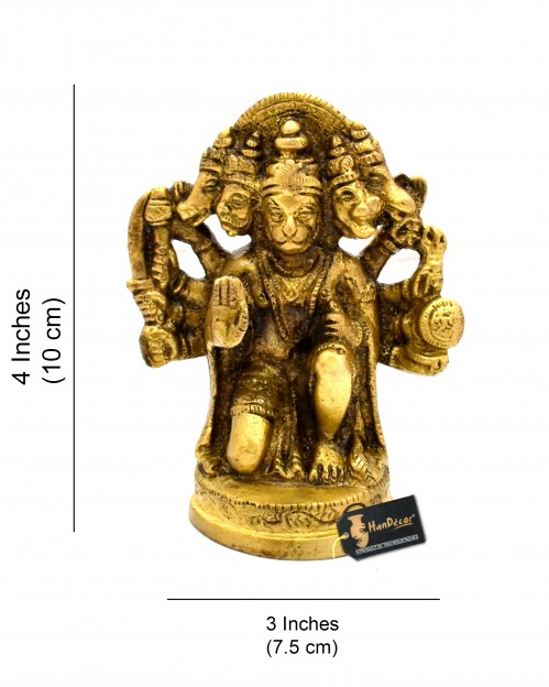 Panchmukhi Hanuman 4 inches Brass Idol