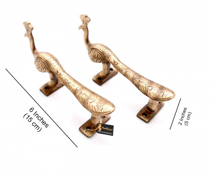 Peacock Design 6 Inches Brass Door Handle Pair