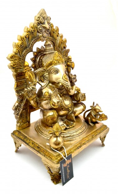 Ganesha 17 Inches Multicolored Brass Statue