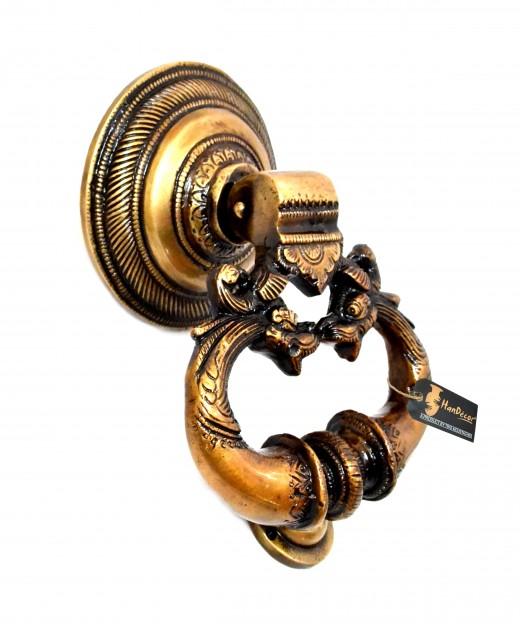 Twin Dragon Design Brass Door Knocker