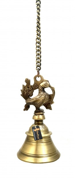 Peacock Design Brass Hanging Bell