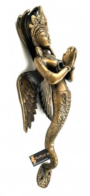 Nagkanya with Folded Hands Design Brass Door Handle