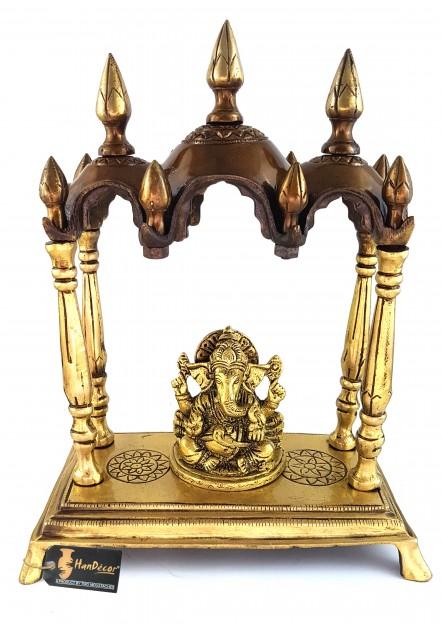 Three Domed Multicolored Brass Temple