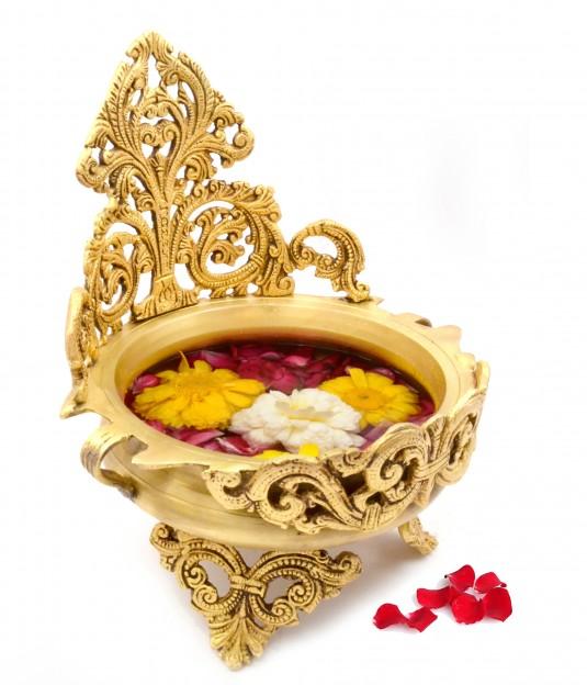 Ethnic Design Decorative Brass Urli Traditional Bowl Showpiece
