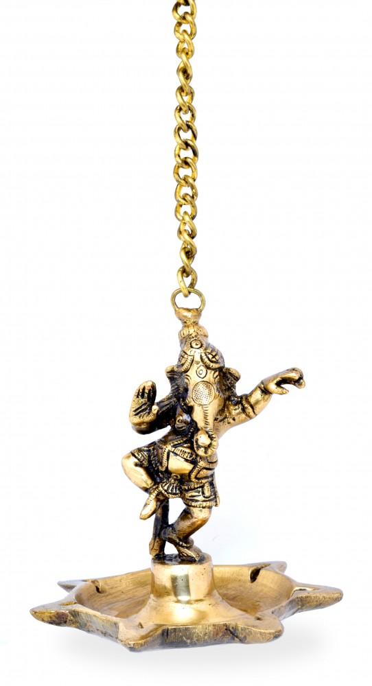 Dancing Ganesha Hanging 7 Oil Wick Diya