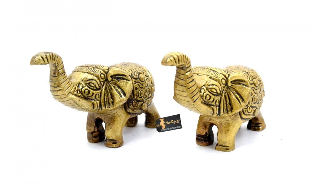 Ethnic Indian Brass Elephant Showpiece - Set of 2