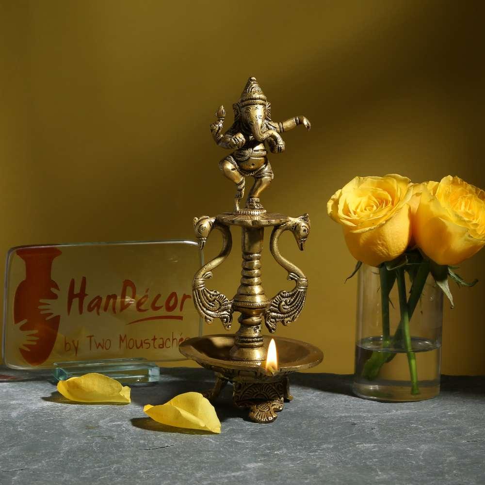Brass Dancing Ganesha Oil Diya with Base
