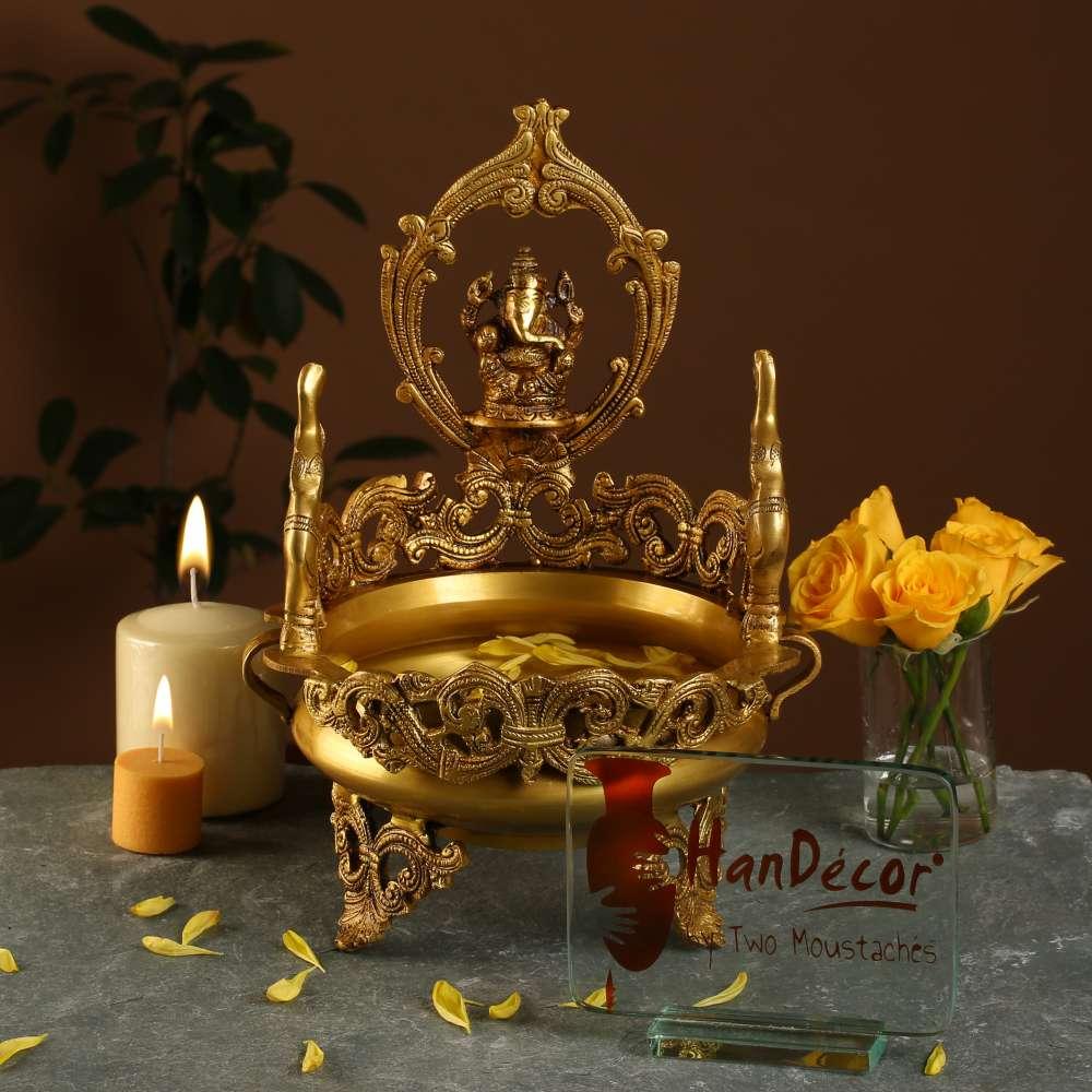 Elephant Design Decorative Ganesha Brass Urli Traditional Bowl Showpiece