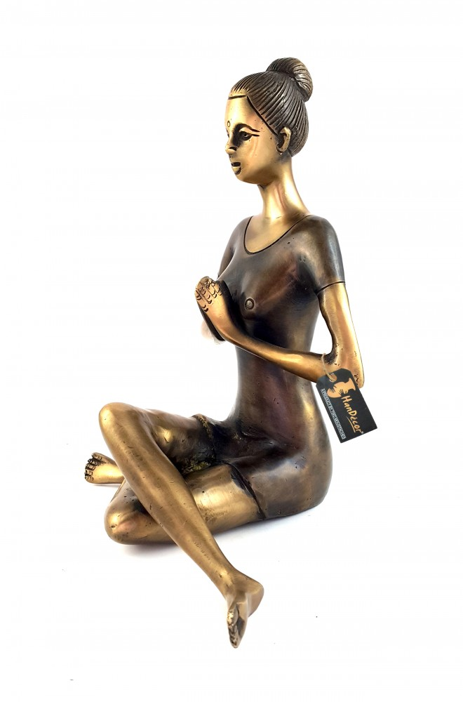Brass Namaste Yoga Instructions Sitting Lady Sculpture Showpiece