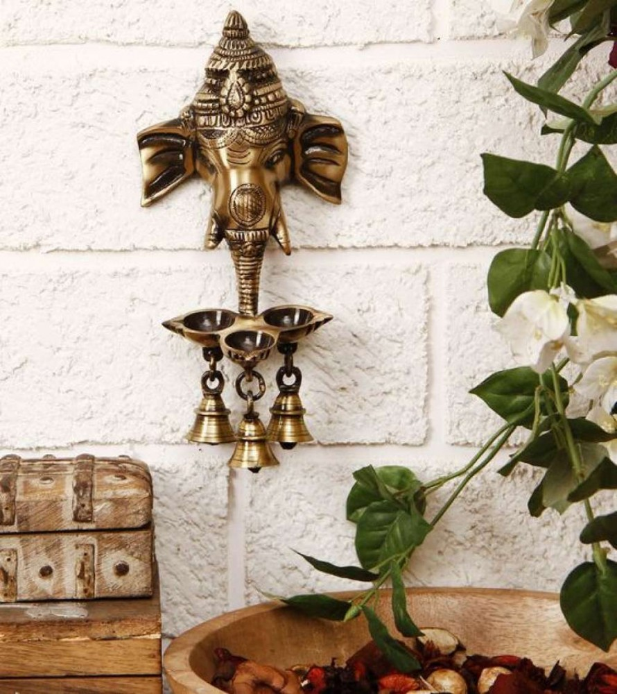 Brass Ganesha Wall Hanging Deepak With Bells