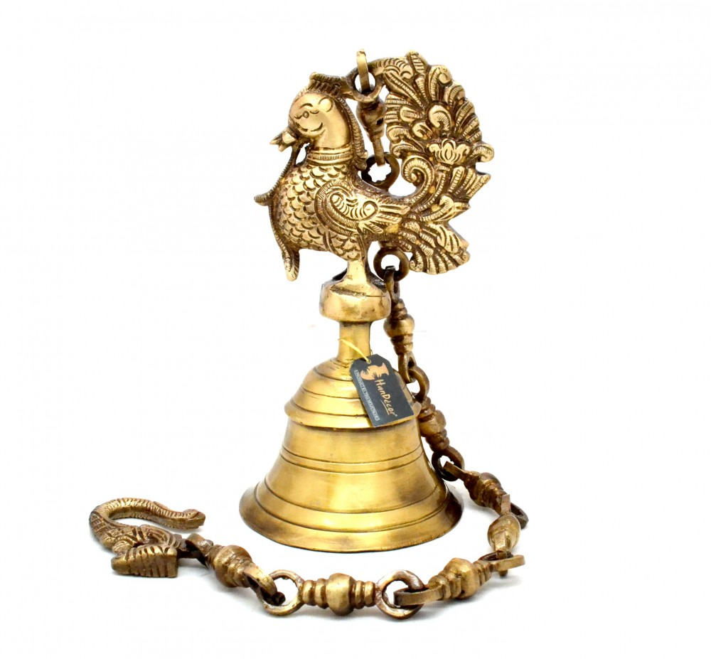 Vintage Brass Temple Bell With Peacock On Chain