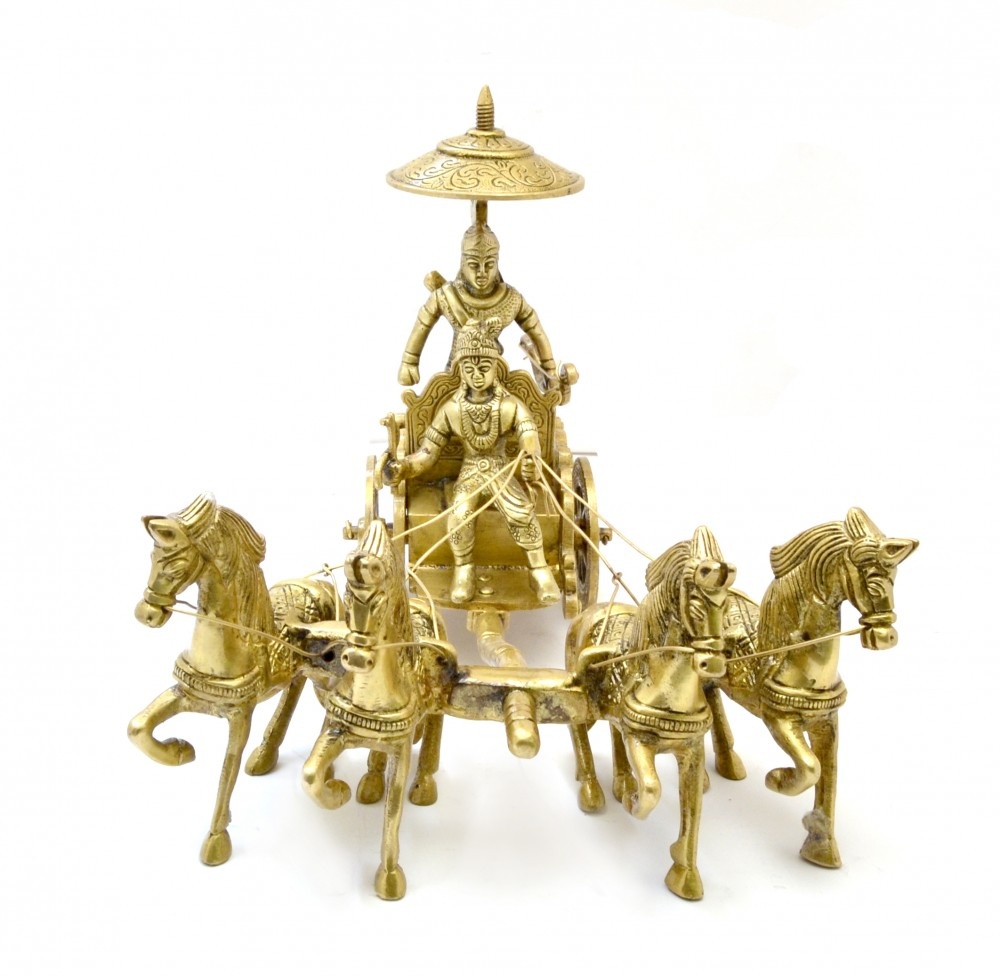Brass Krishna Arjuna Rath with 4 Horses