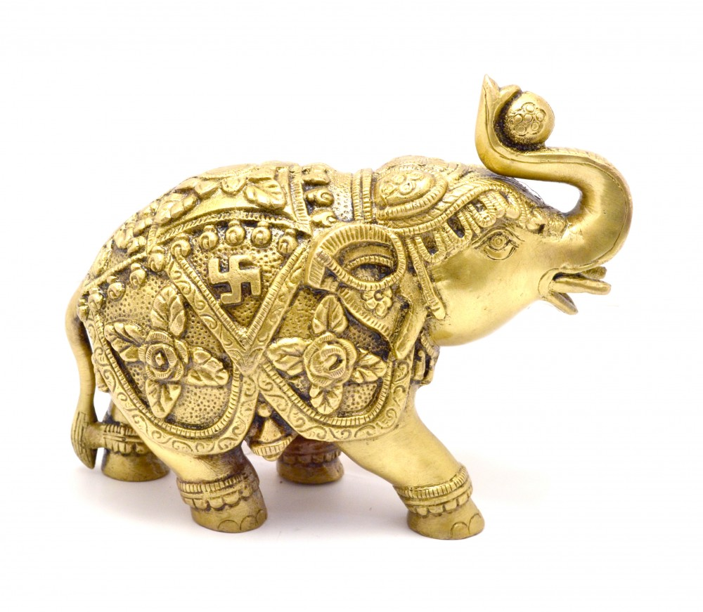 Brass Elephant with Carving Showpiece 7 Inches
