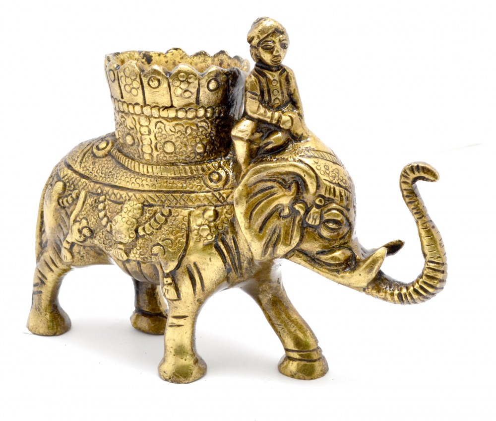 Elephant Pen Savari Holder Antique Yellow
