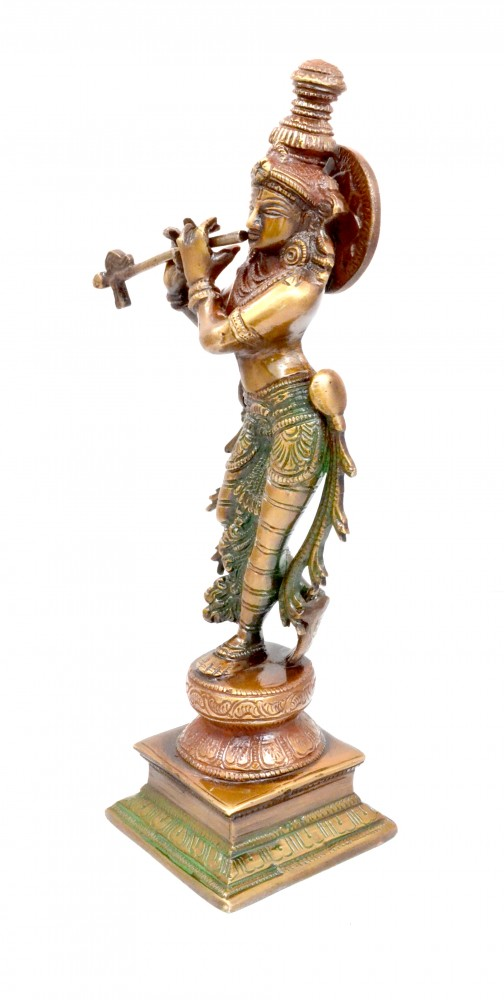 Krishna Playing Flute Brass Showpiece