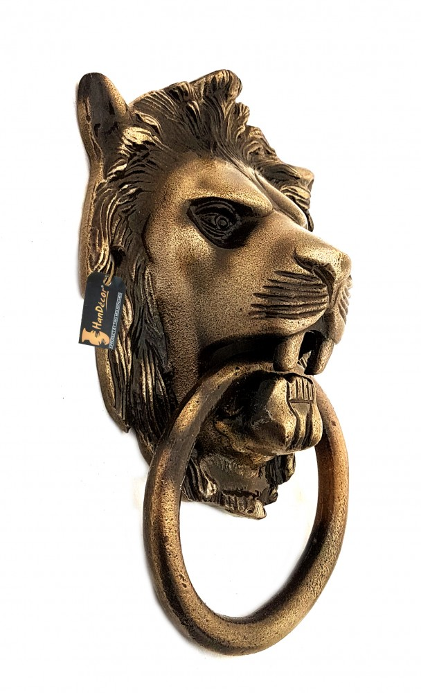 Lion Design Door Knocker - Antique Brown