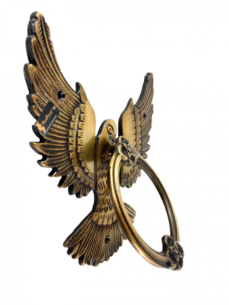 Open Winged Eagle Design Brass Door Knocker (Multicolored)