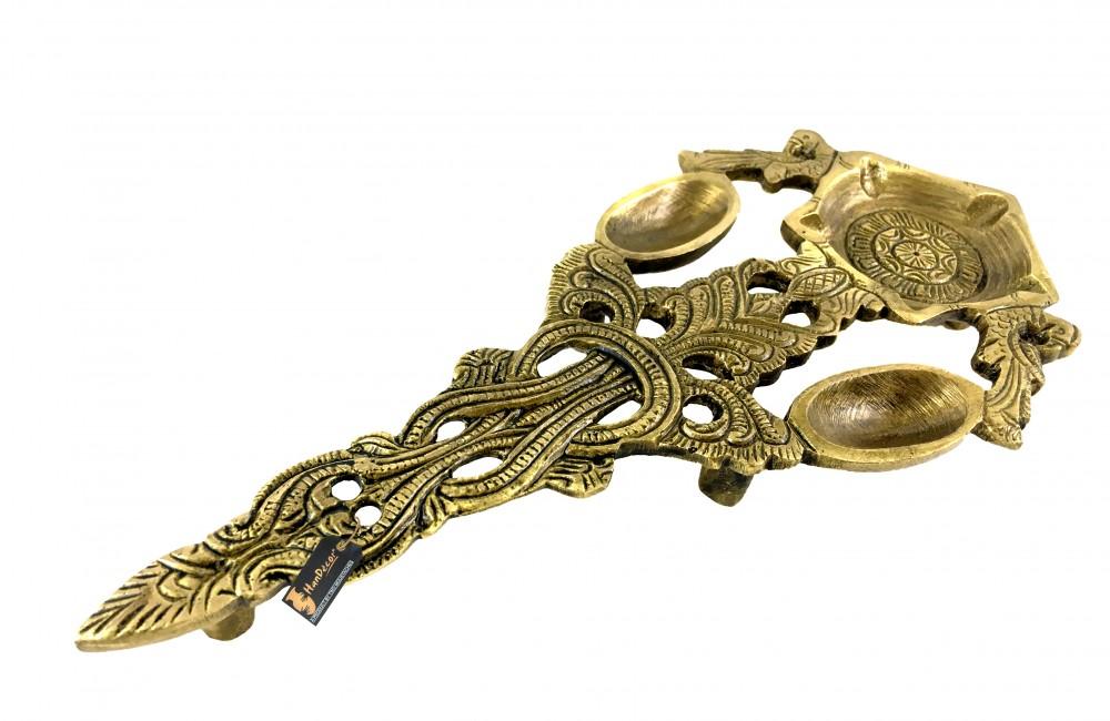Twin Peacock Design Brass Pooja Spoon