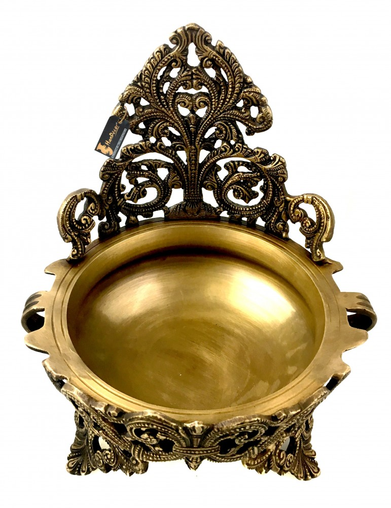 Ethnic Design Decorative Brass Urli Traditional Bowl Showpiece