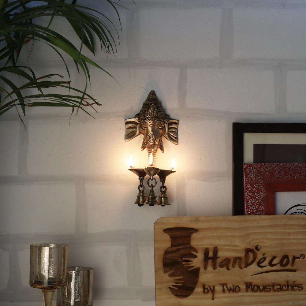 Brass Ganesha Wall Hanging Deepak With Bells