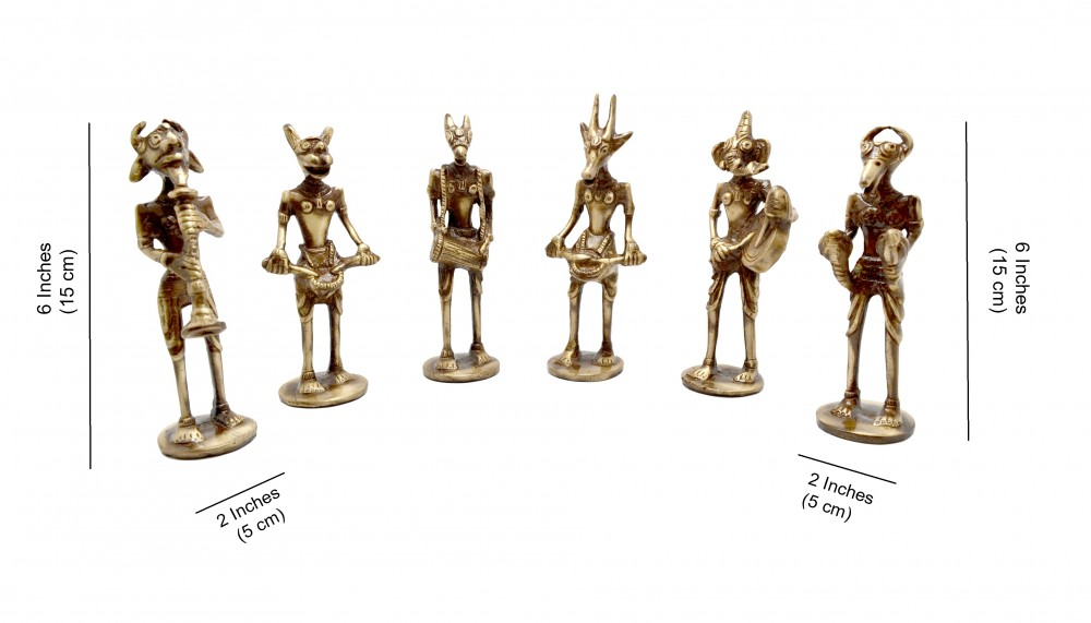 The Devil's Band Figurines Brass Showpieces - Set Of 6