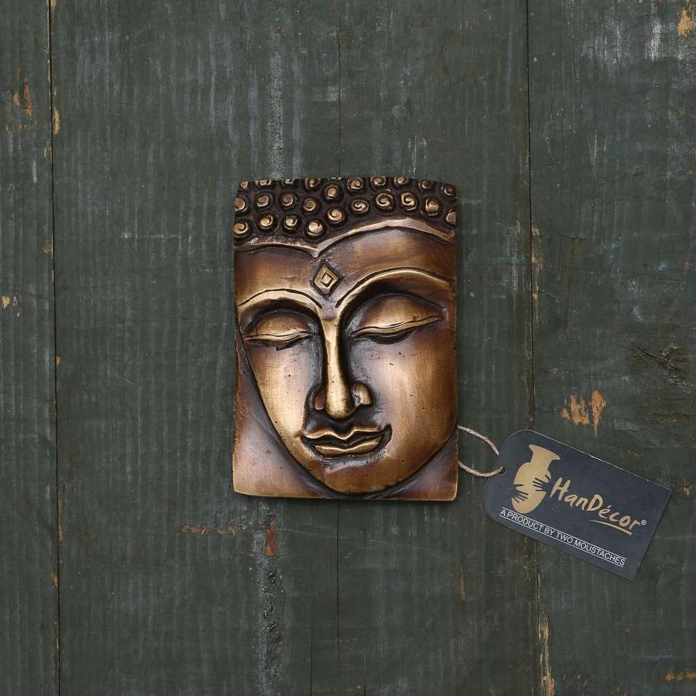 Calm Buddha Brass Wall Hanging - Brown