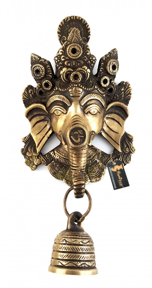 Crown Ganesha Brass Wall Hanging with Designer Bell