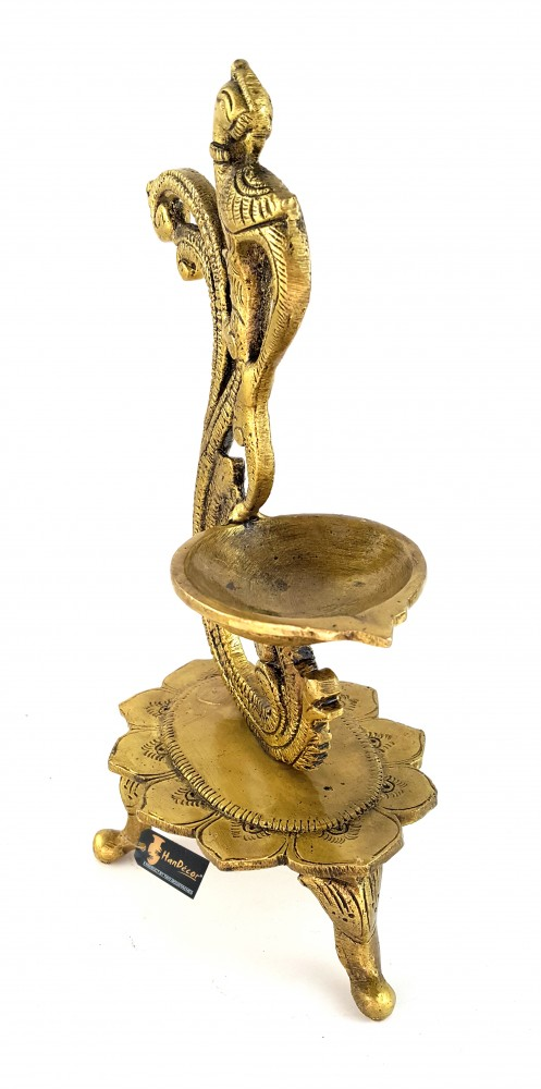 Curved Peacock Design Brass Diya - Antique Yellow