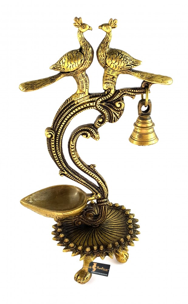 Ethnic Carved Twin Peacock Over Brass Diya