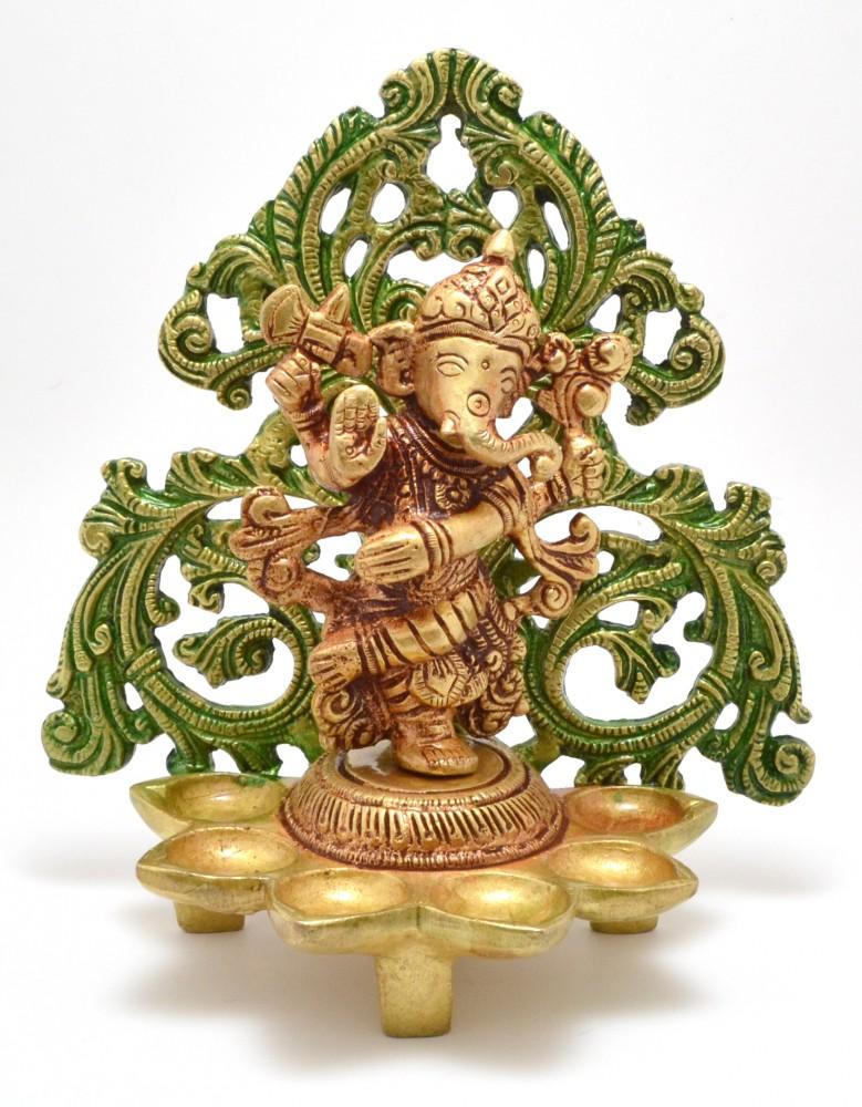 Dancing Ganesha Carving Diya Stand- Antique Yellow