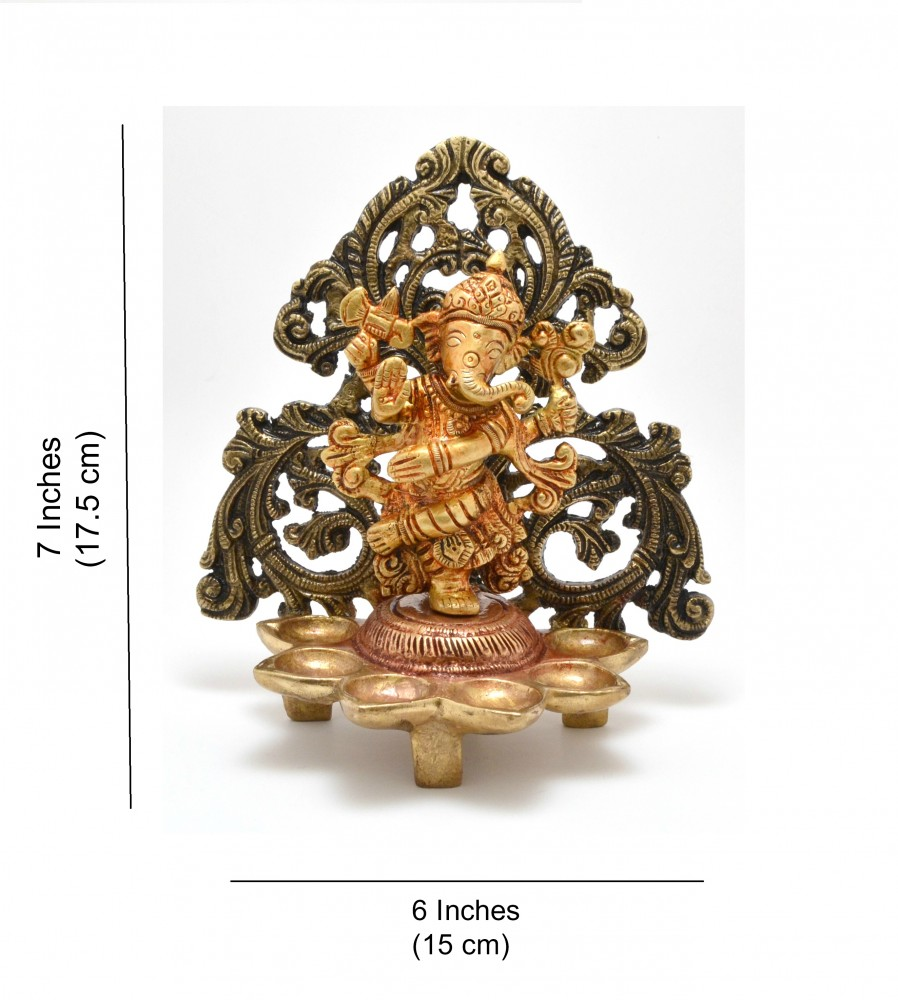 Dancing Ganesha Carving Diya Stand- Antique Brown