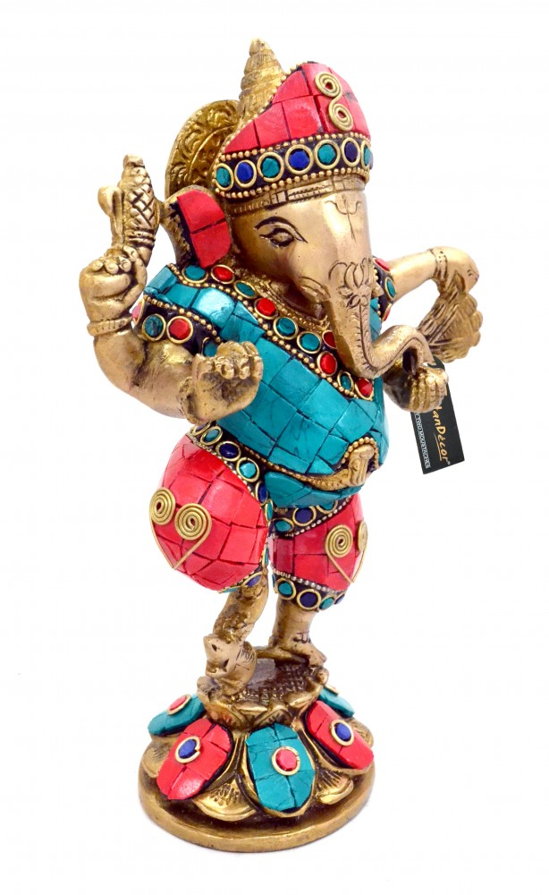 Brass Dancing Ganesha Gemstone Showpiece