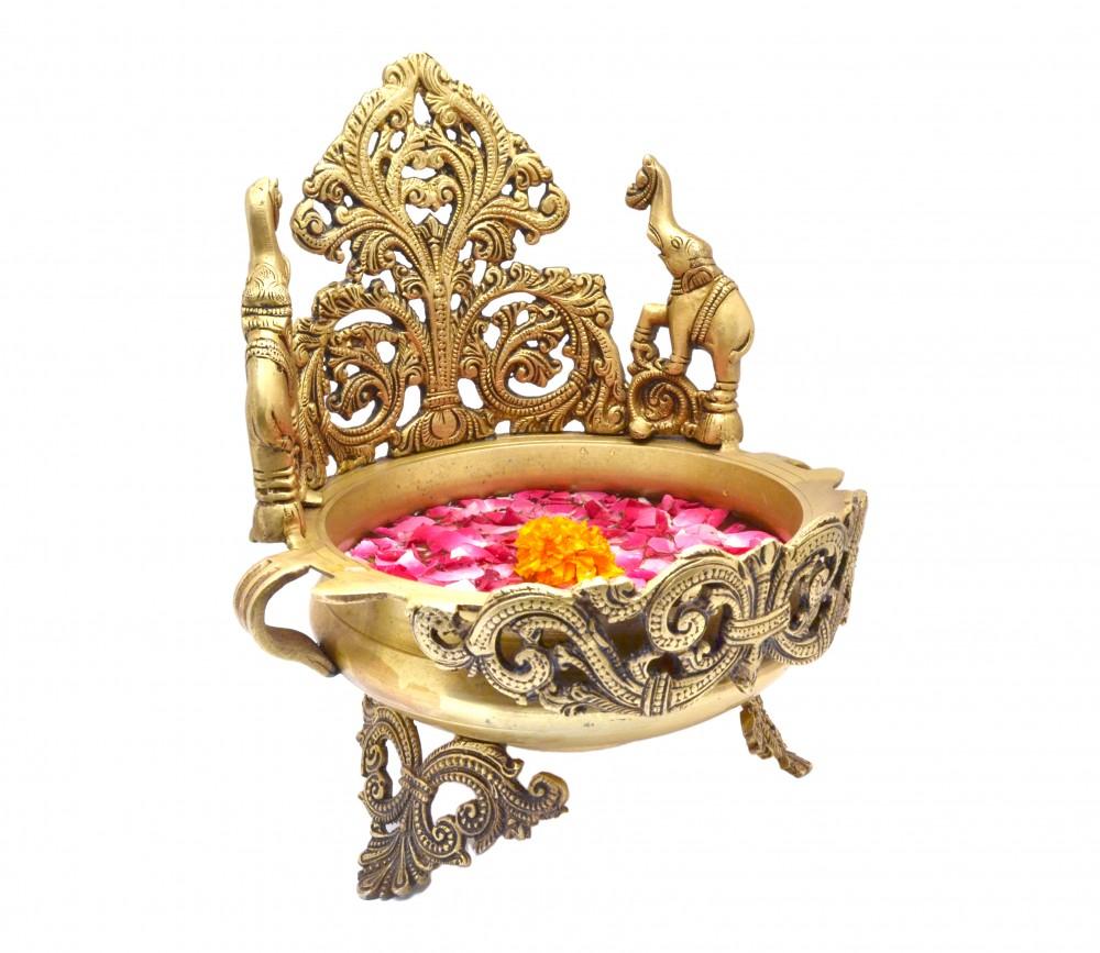 Brass Elephant Design Handcrafted Decorative Urli