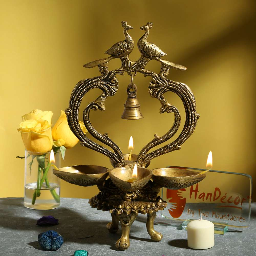 Ethnic Carved Peacock Over Brass Four Diyas