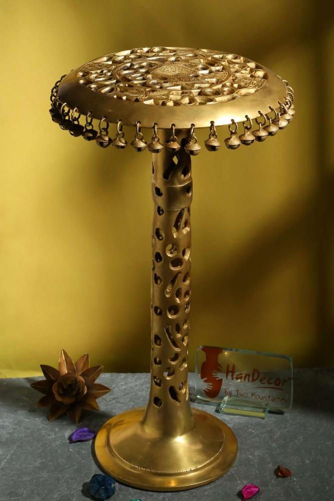 Ethnic Design Brass Decorative Round Corner Table with Hanging Bells Showpiece