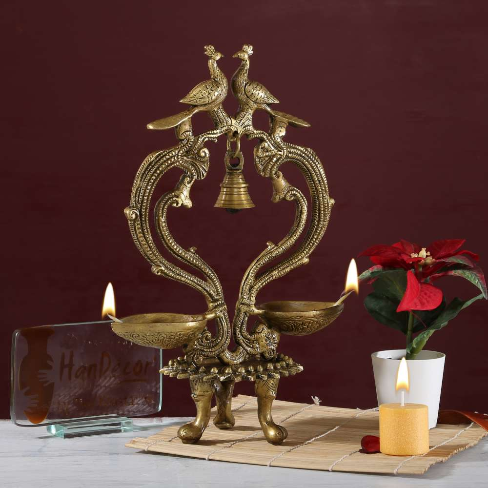 Ethnic Carved Peacock Over Brass Twin Diya