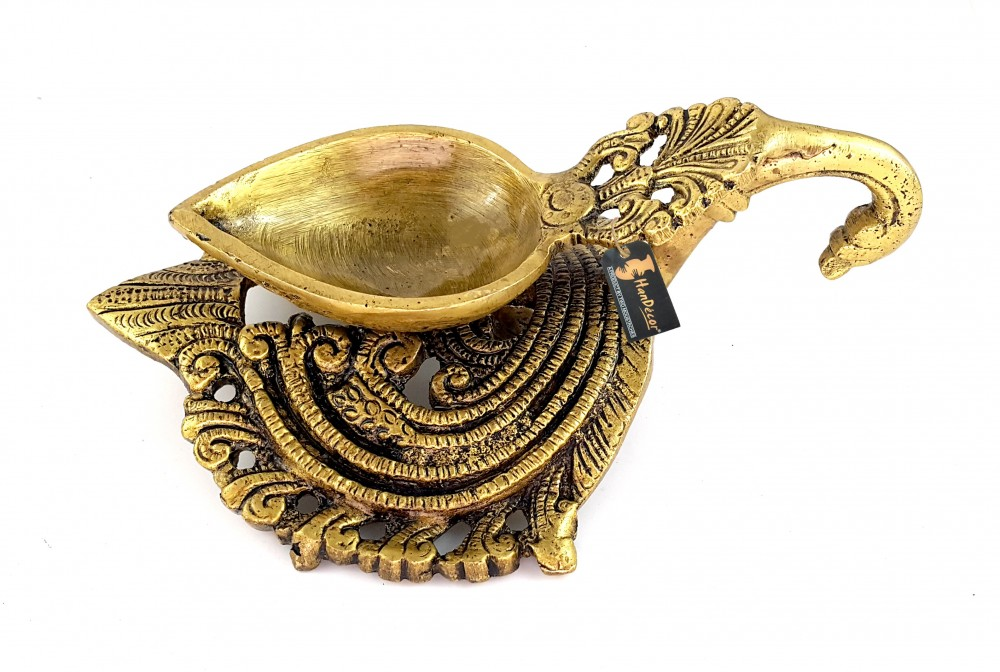Ethnic Indian Design Carved Brass Diya