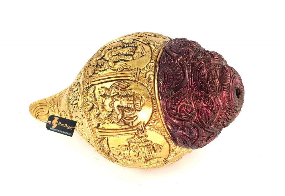Multi Ganesha Carved on Brass Shankh