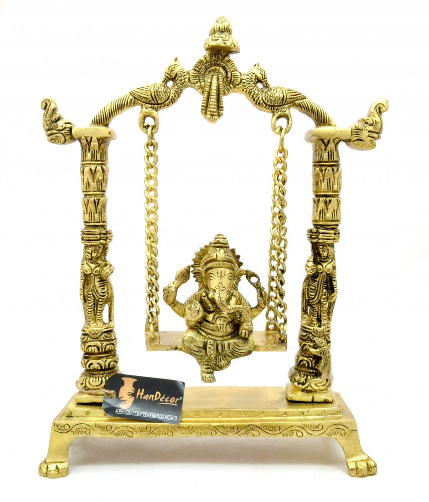 Handcrafted Ethnic Pillar Design Ganesha on Swing Jhoola Premium Brass Showpiece