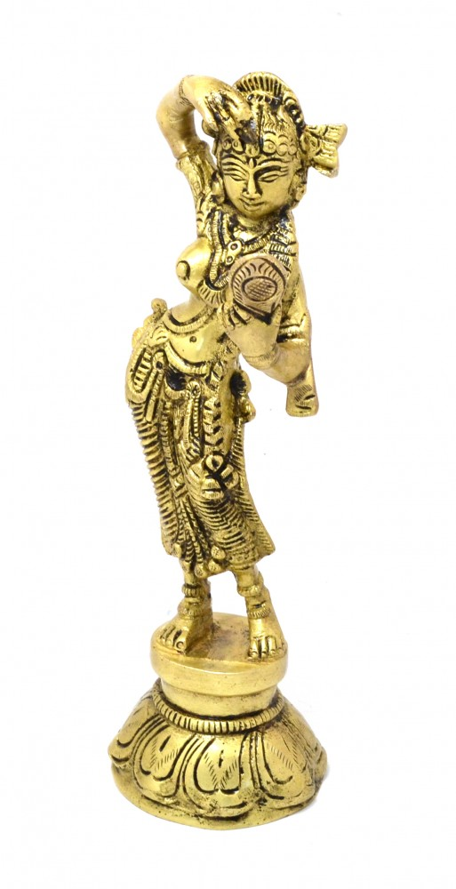 Brass Lady with Mirror Showpiece