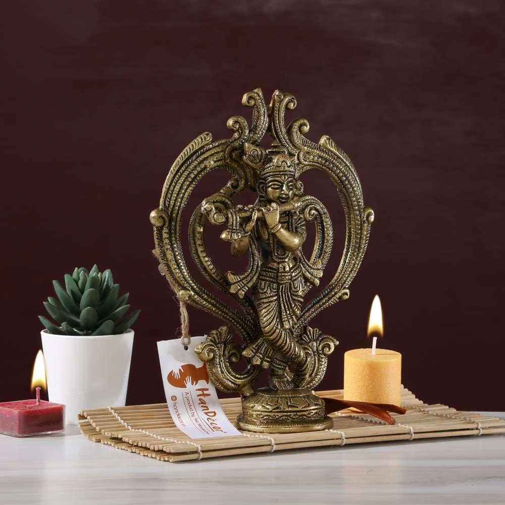 Ethnic Handcrafted Brass Krishna Statue