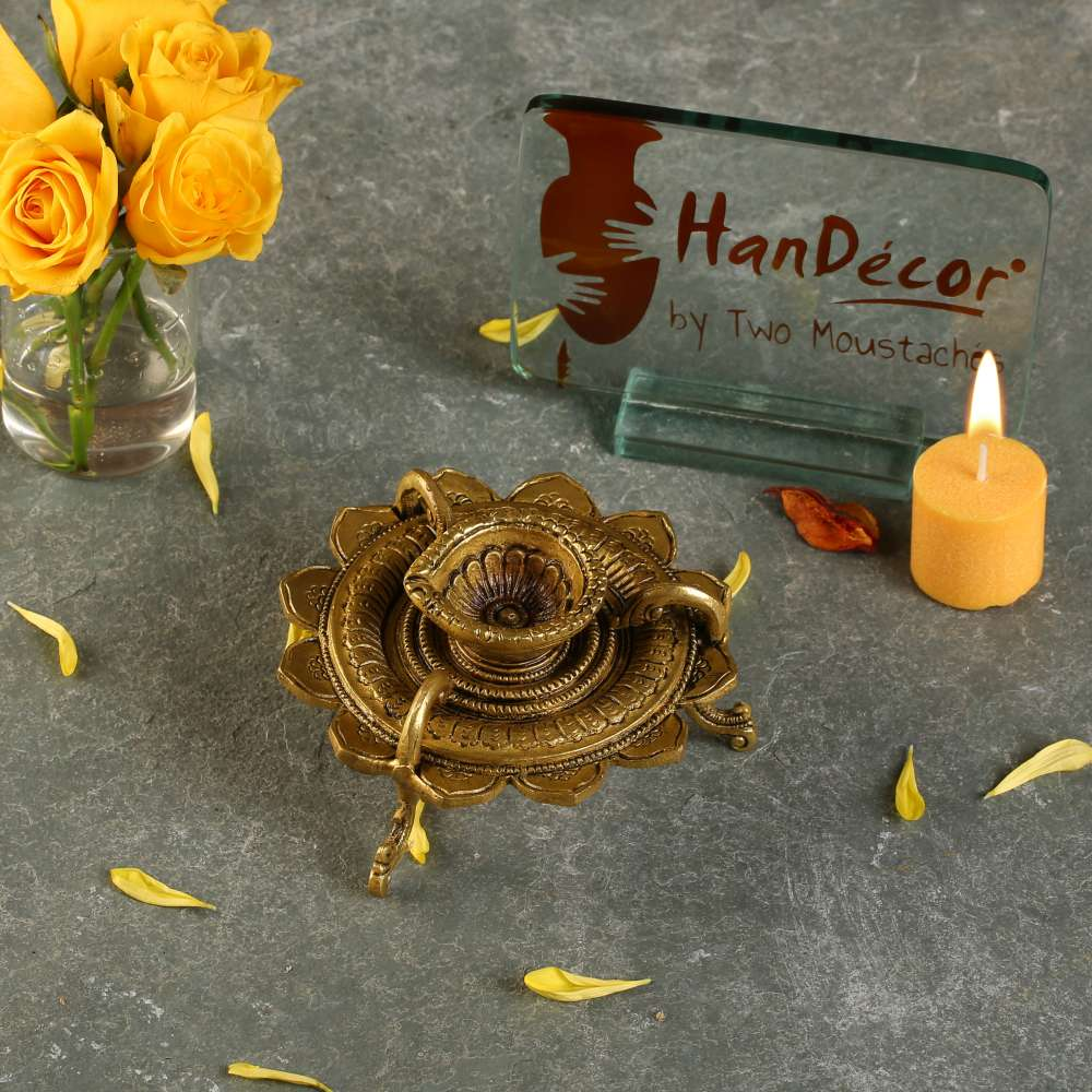 Lotus Shaped Round Brass Diya