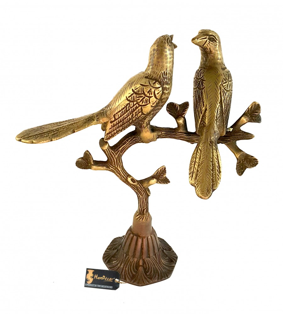 Love Birds on Tree Brass Showpiece